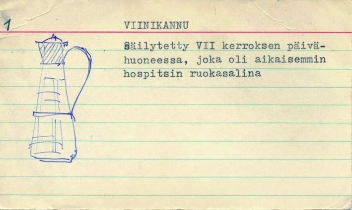 """Museon esinekortti. Siinä on numero 1, nimi Viinikannu ja selostus """"Säilytetty VII kerroksen päivähuoneessa, joka oli aikaisemmin hospitsin ruokasalina"""". Lisäksi kuvassa on piirros viinikannusta."""