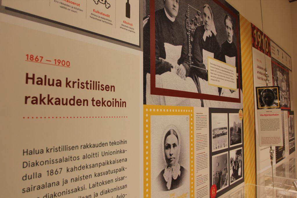 Museon näyttelyn tietotaulu, jossa otsikko Halua kristillisen rakkauden tekoihin.