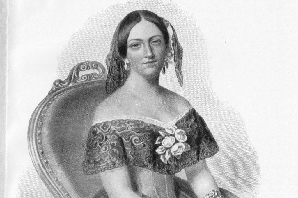 Aurora Stjernvall (1808-1902), mustavalkoinen vanha piirroskuva.