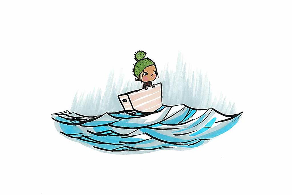 Piirroskuvassa pieni poika seilaa lautalla merellä.