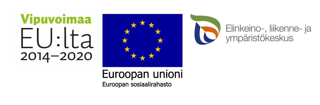 Kolme logoa: ohjelman Vipuvoimaa EU:sta 2014-2020, Euroopan unionin sekä Elinkeino-, liikenne- ja ympäristökeskuksen.