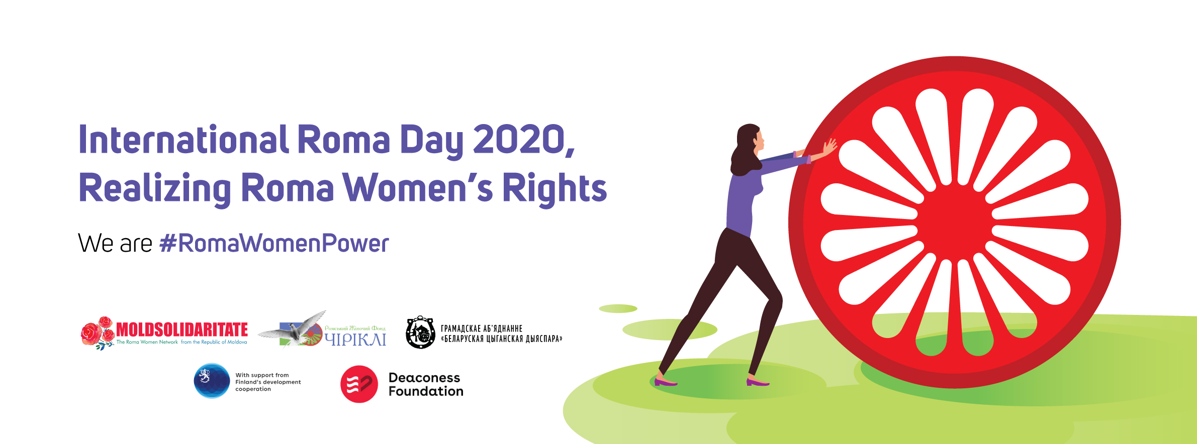 Picture with a text: Internatiol Roma Day 2020, Realizing Roma women's Rights. We are #RomaWomenPower