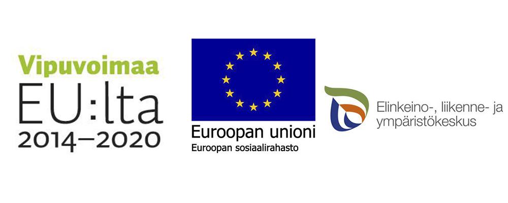 Kolme logoa: ohjelman vipuvoimaa EU:lta 2014-2030, Euroopan unionin sosiaalirahaston sekä Elinkeino-, liikenne- ja ympäristökeskuksen.