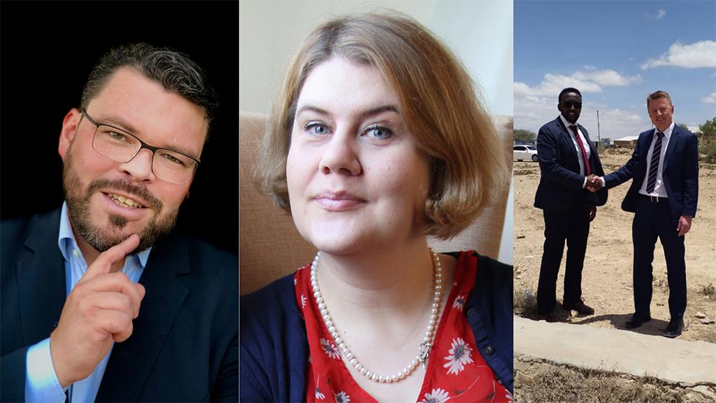 Kymppi-hankkeen aamutilaisuuden keskustelijat Aaro Rytkönen, Maria Mekri ja Harri Sarjanoja.