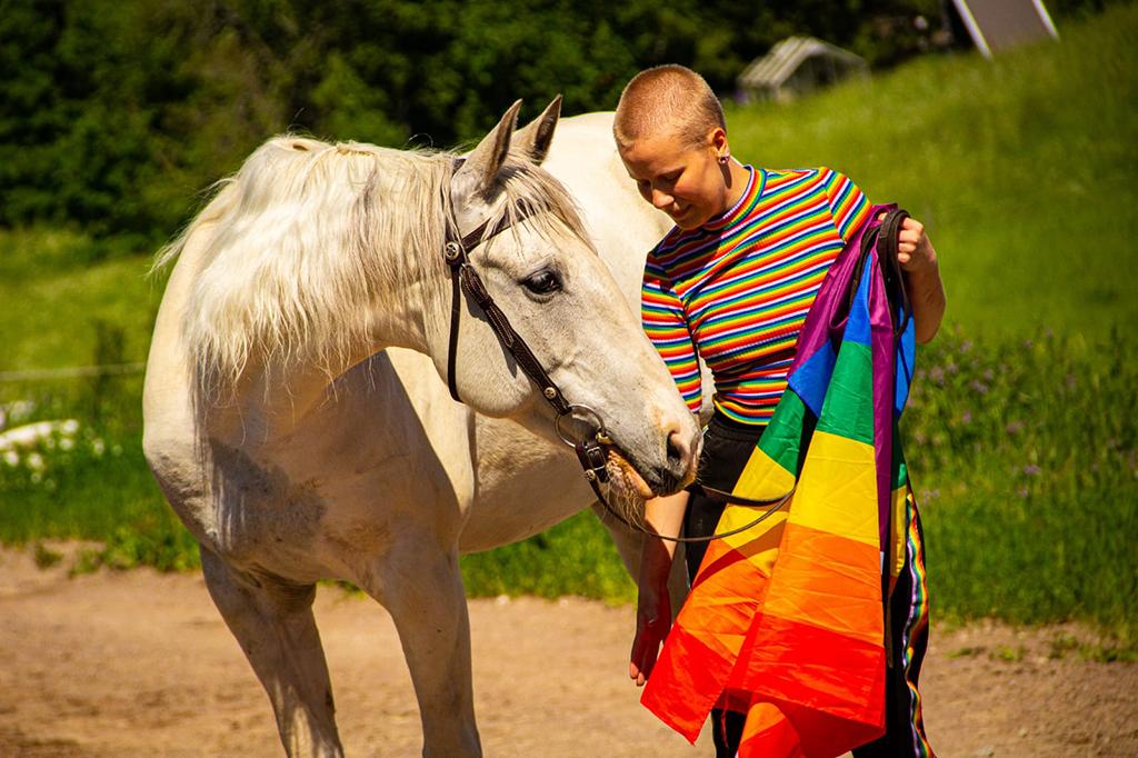 Ihminen, jolla on sateenkaarilippu kädessä silittää hevosta.