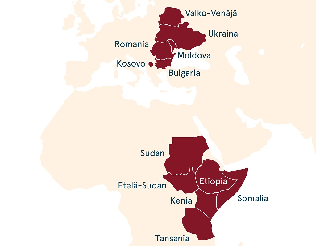 Diakonissalaitos toimii Valko-Venäjällä, Ukrainassa, Moldovassa, Romaniassa, Bulgariassa, Kosovossa, Sudanissa, Etelä-Sudanissa, Etiopiassa, Somaliassa, Keniassa ja Tansaniassa.