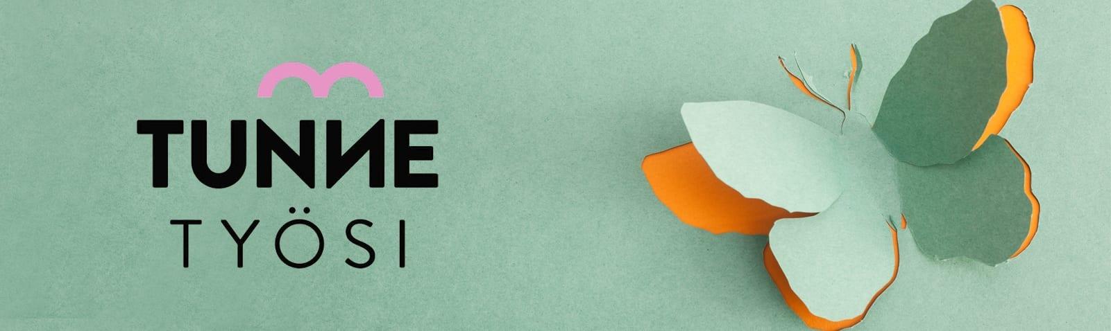 Tunne työsi seminaarin logossa teksti Tunne työsi. Vihreä tausta, josta leikattu perhosen muoto niin, että leikkauksen alta heijastaa läpi oranssi paperi.