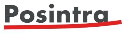 Posintran logo, jossa harmaalla teksti Posintra alleviivattuna punaisella viivalla.