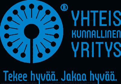 Yhteiskunnallisen yrityksen logo, jossa sinisen graafisen elementin ympärillä tekstinä Yhteiskunnallinen yritys. Tekee hyvää. Jakaa hyvää.